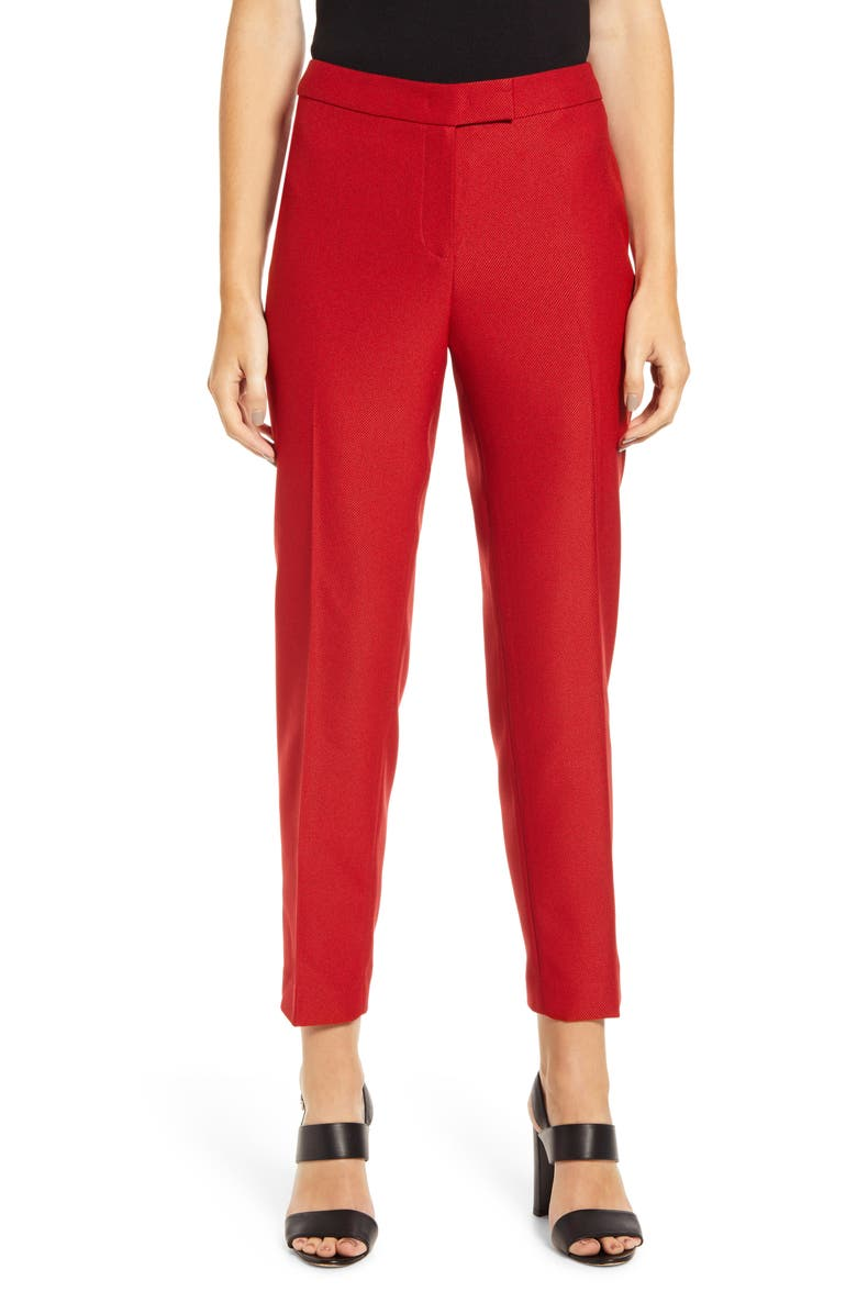 ANNE KLEIN Textured Stretch Twill Slim Trousers, Main, color, 600