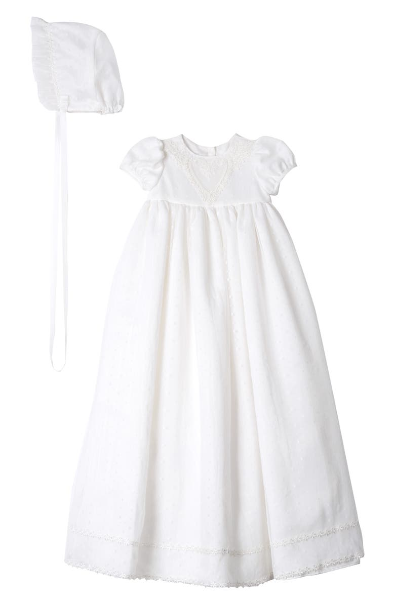 PIPPA & JULIE Point Desprit Embroidered Heart Christening Gown & Bonnet, Main, color, WHITE