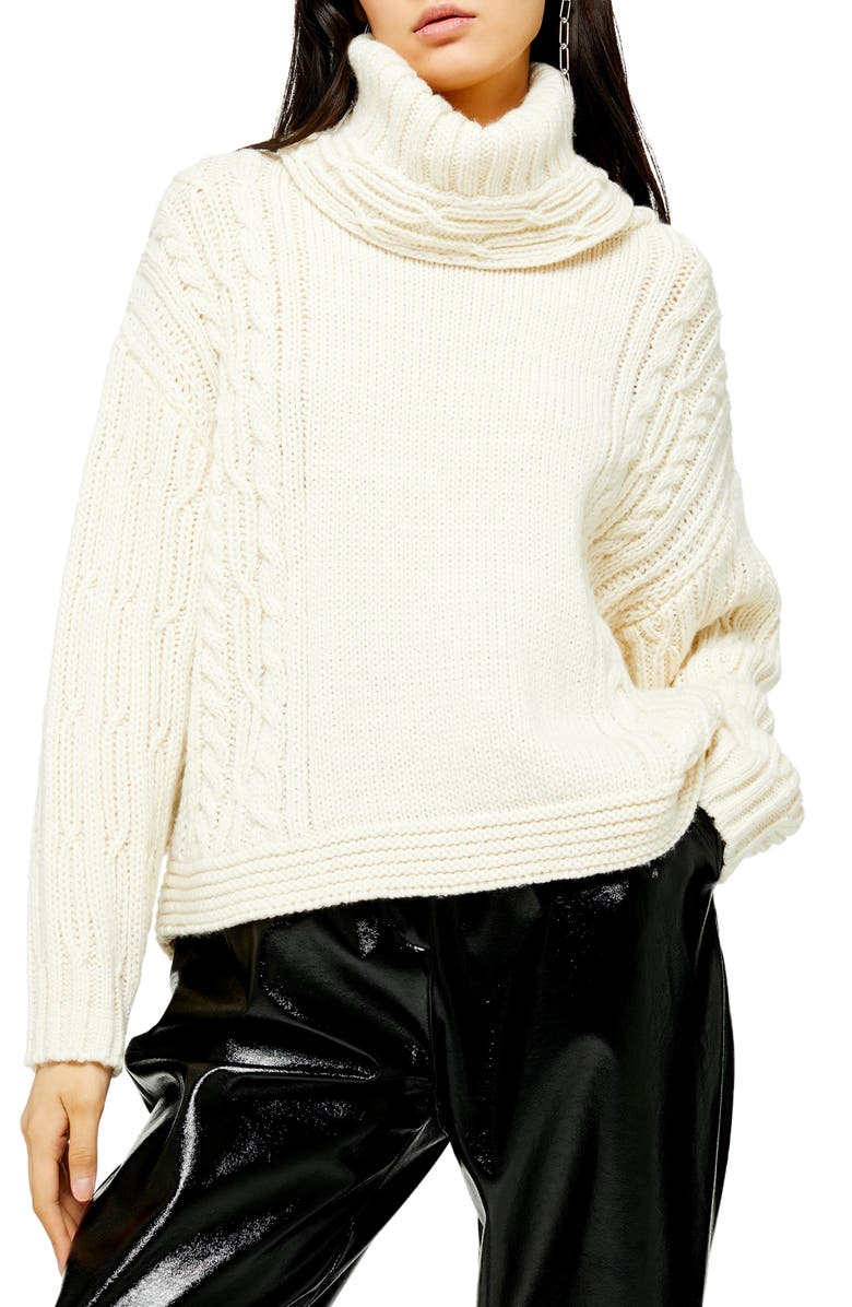 TOPSHOP Chunky Cable Turtleneck Sweater, Main, color, 900