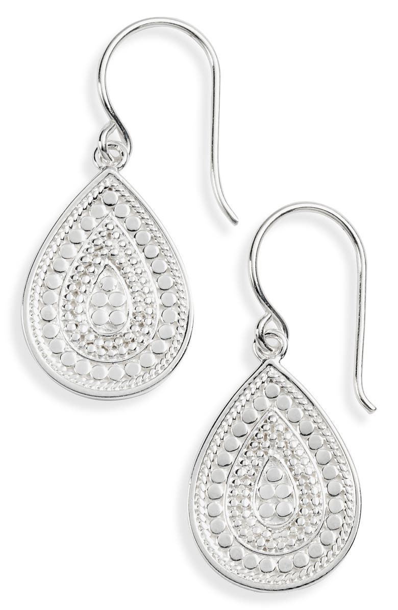 ANNA BECK Small Teardrop Earrings, Main, color, SILVER