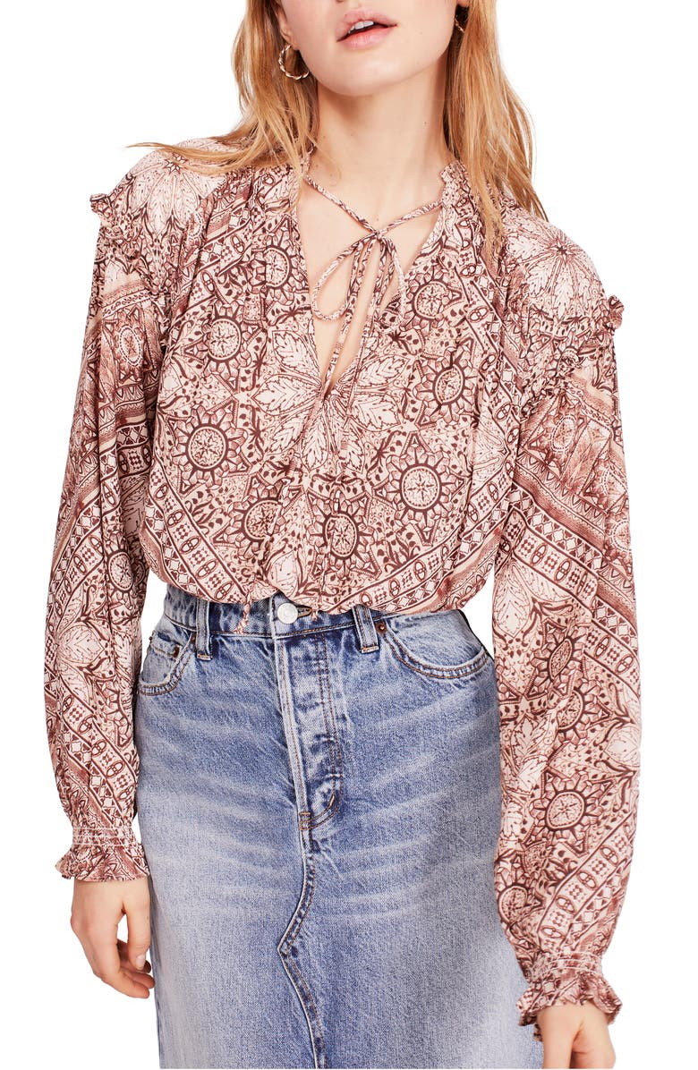 FREE PEOPLE Little Runaway Blouse, Main, color, PINK