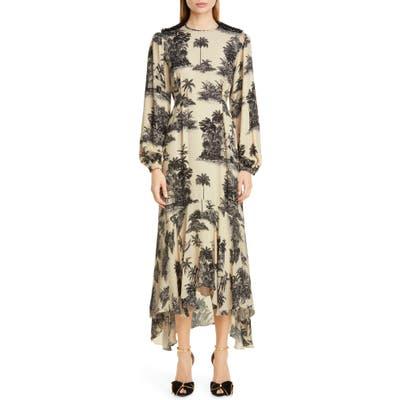 Johanna Ortiz Toile Palm Print Long Sleeve Maxi Dress, Ivory