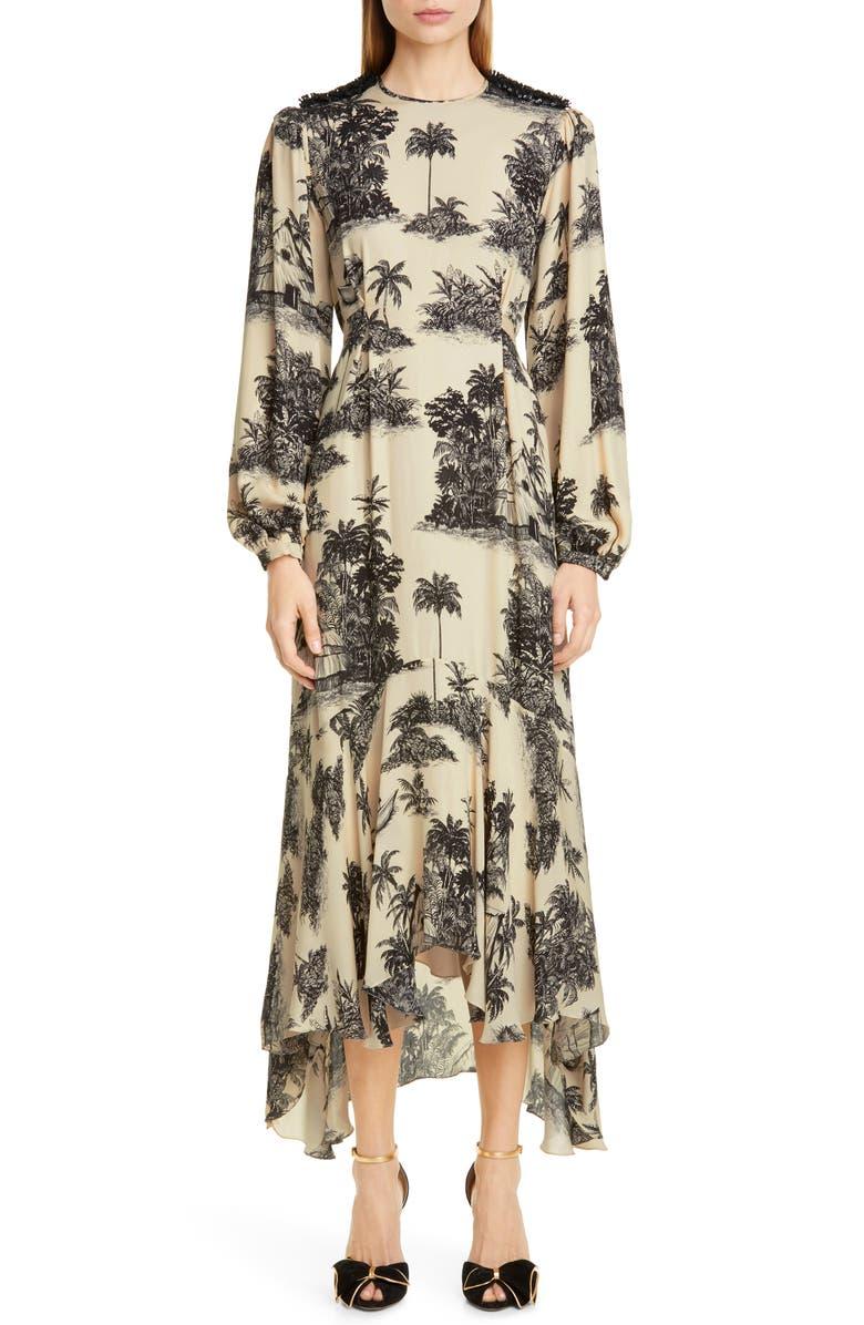 JOHANNA ORTIZ Toile Palm Print Long Sleeve Maxi Dress, Main, color, BLACK/ ECRU