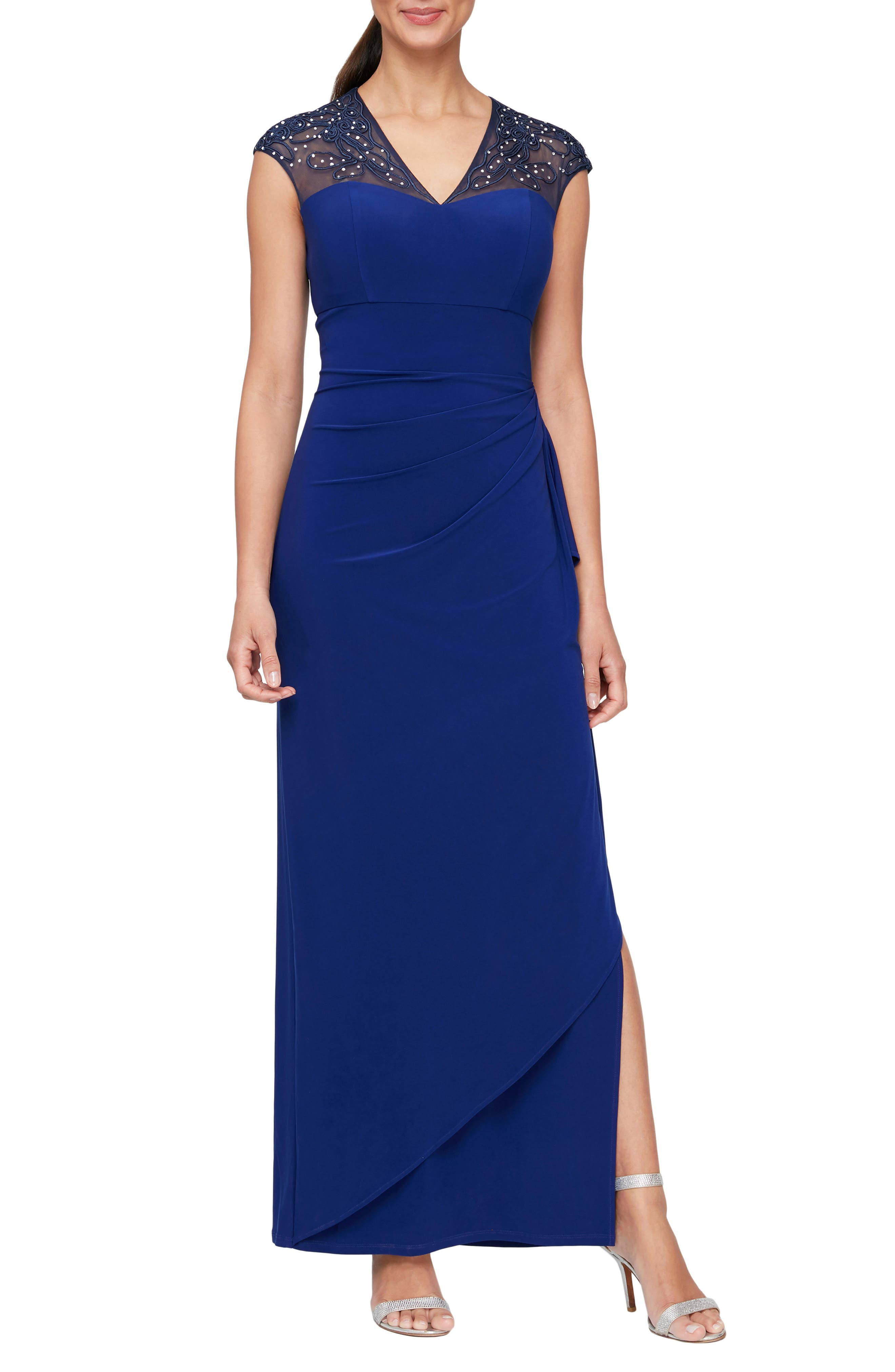 Illusion Lace Bead Detail Matte Jersey Gown