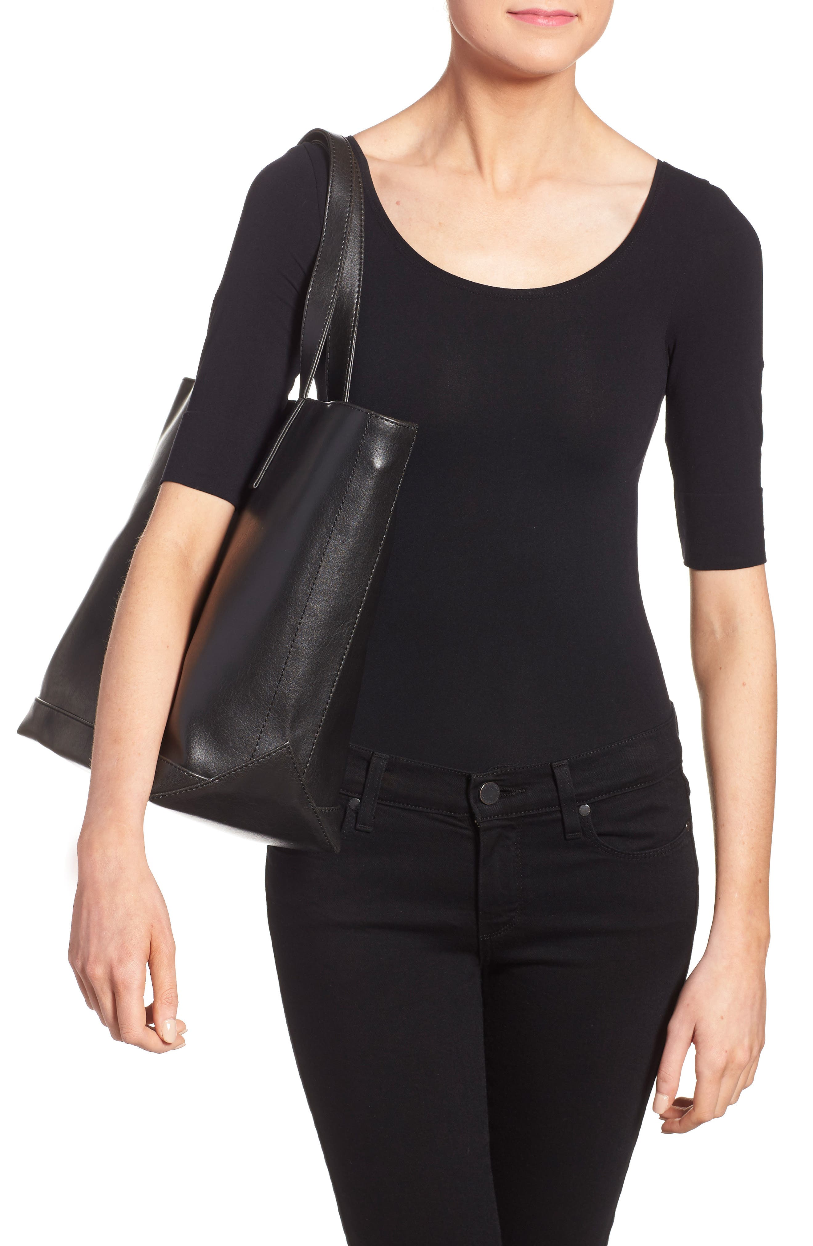 ,                             'Schlepp' Faux Leather Tote,                             Alternate thumbnail 6, color,                             BLACK