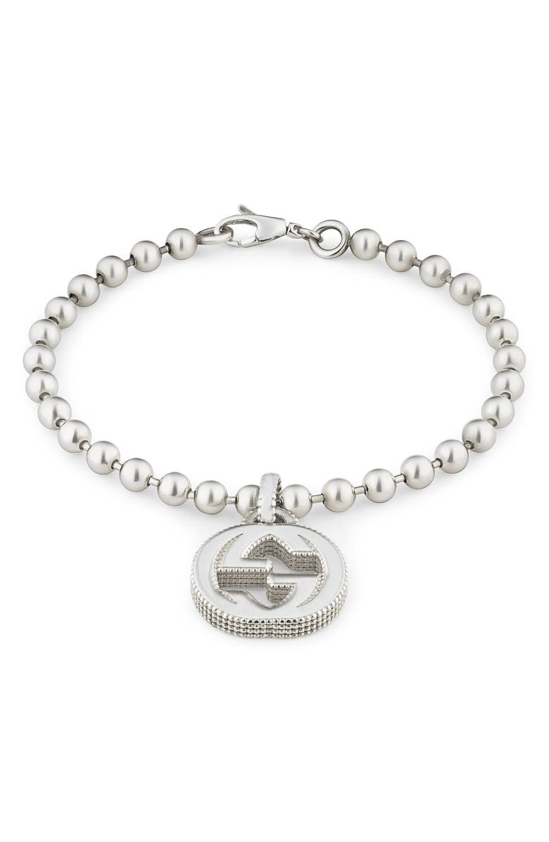 GUCCI Silver Interlocking-G Line Bracelet, Main, color, STERLING SILVER