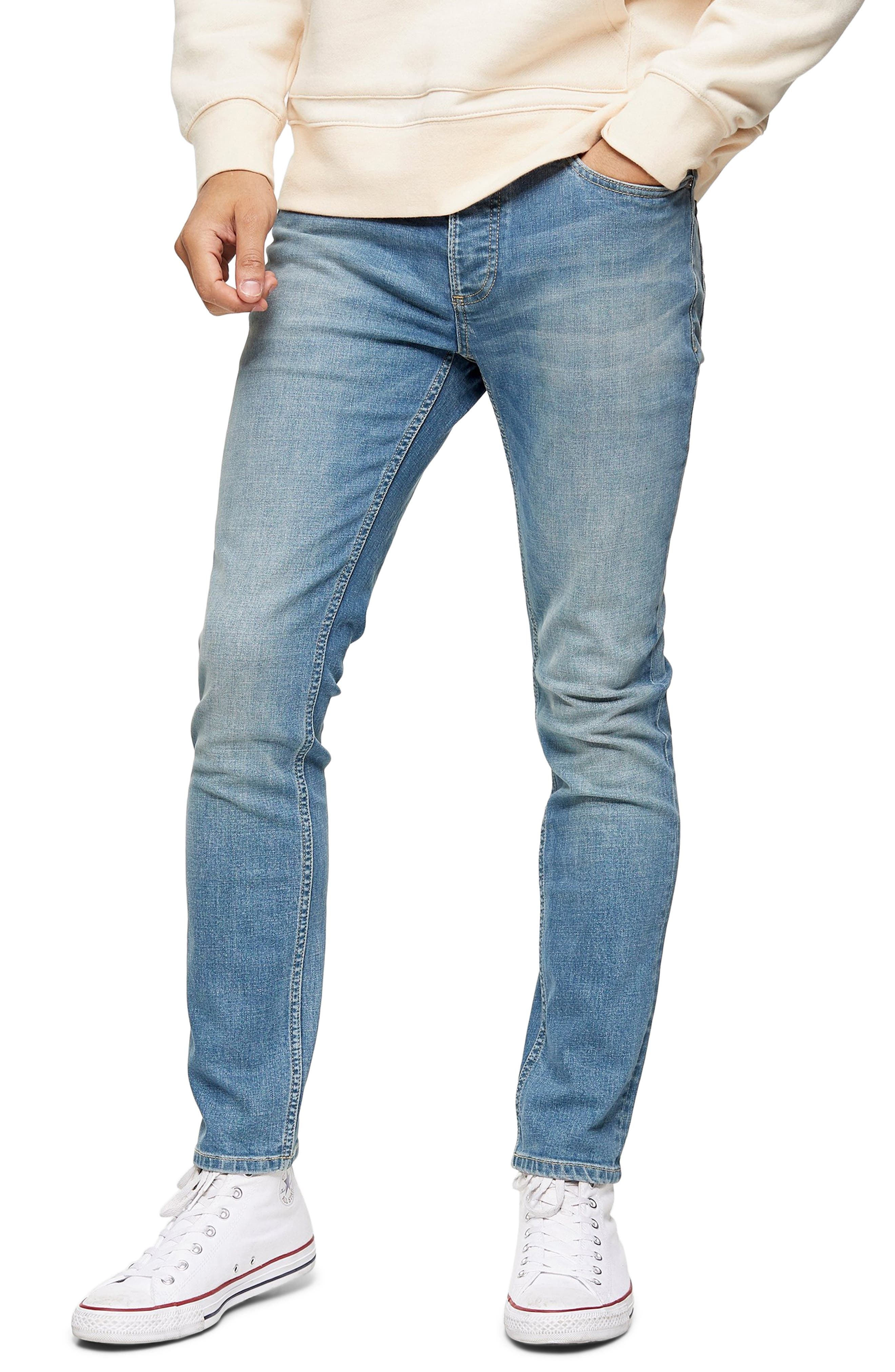 Strategic fading adds plenty of worn-in appeal to stretch-denim skinny jeans that are must-haves for any day of the week. Style Name: Topman Skinny Fit Jeans. Style Number: 6049546. Available in stores.