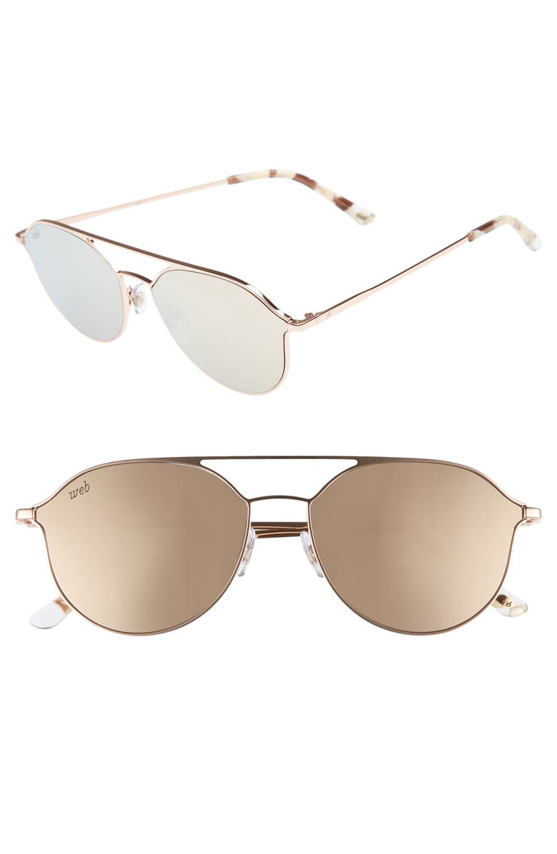 WEB 59mm Metal Aviator Sunglasses, Main, color, LIGHT BRONZE/ BROWN
