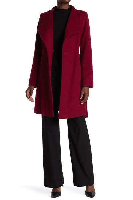 Image of Michael Kors Missy Asymmetrical Belted Wool Blend Coat