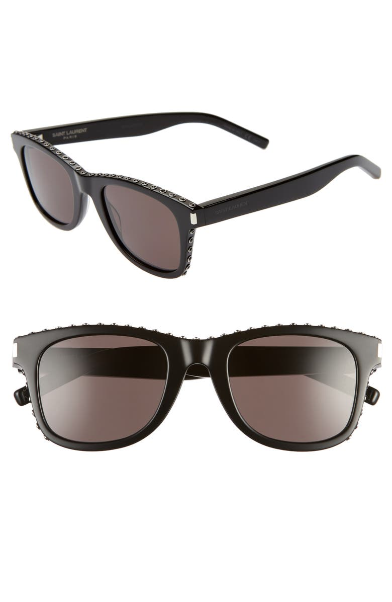 SAINT LAURENT 50mm Sunglasses, Main, color, 001