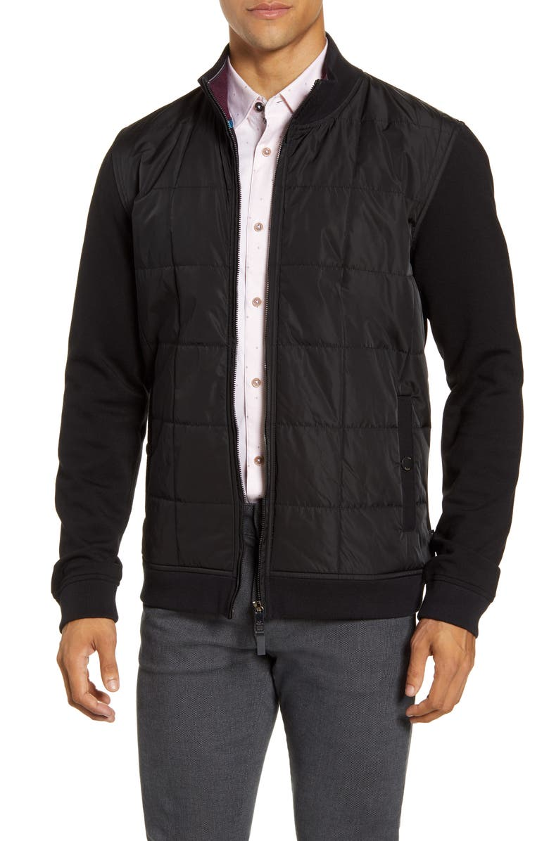 TED BAKER LONDON Passport Quilted Front Fleece Jacket, Main, color, BLACK