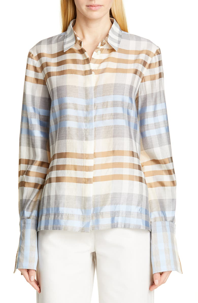 CO Wide Cuff Shimmer Plaid Wool & Silk Shirt, Main, color, BLUE/ BROWN