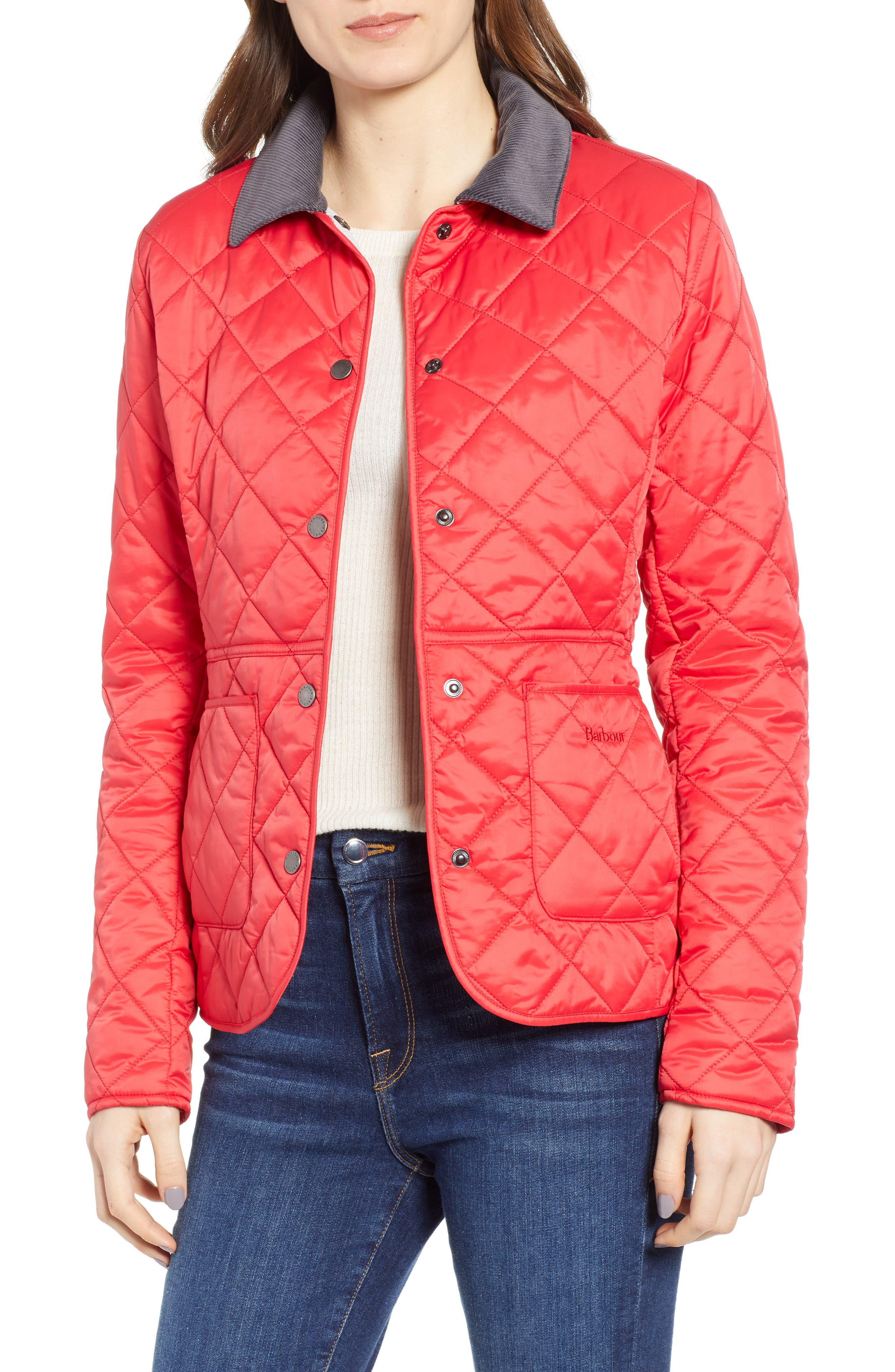 Barbour Deveron Quilted Jacket, US / 14 UK - Red