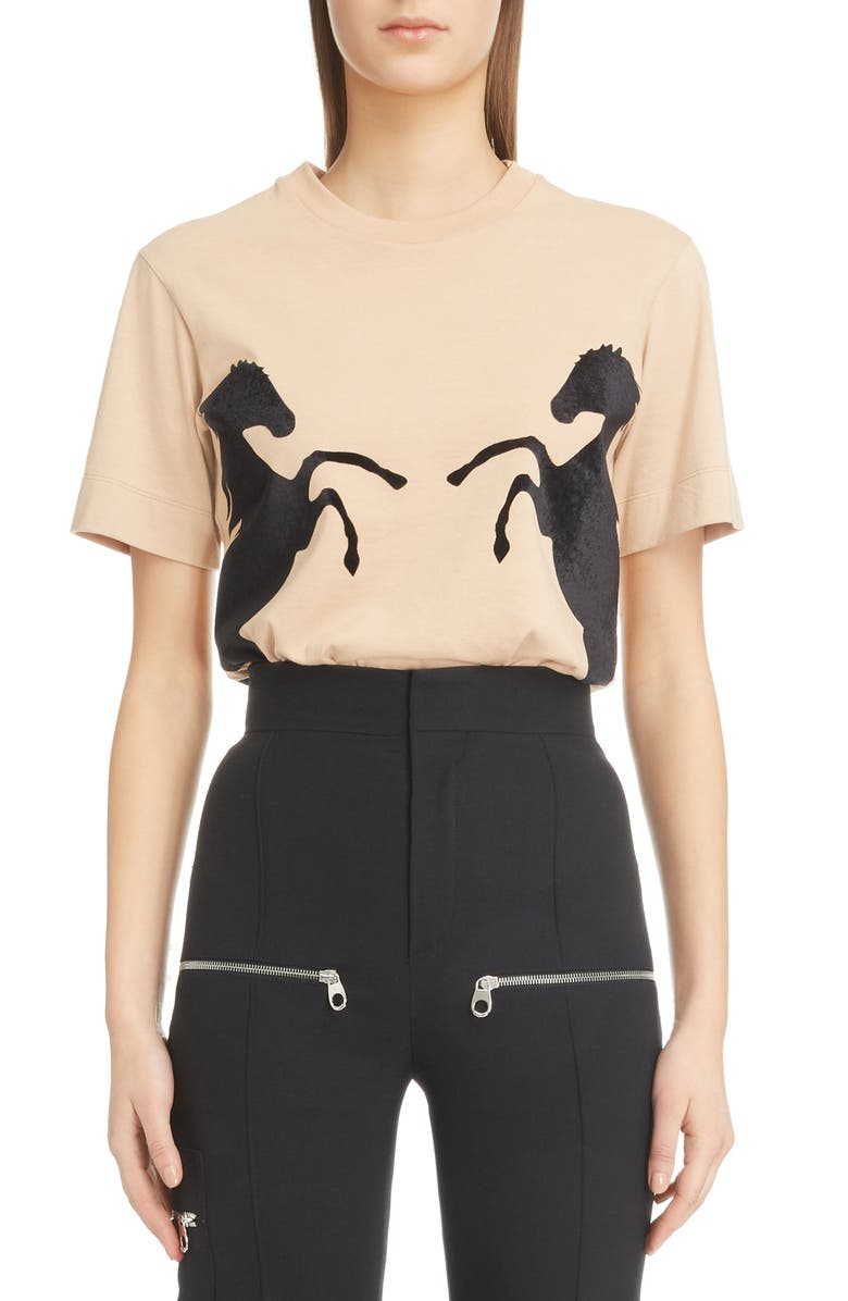 CHLOÉ Velvet Horse Tee, Main, color, SANDY BEIGE
