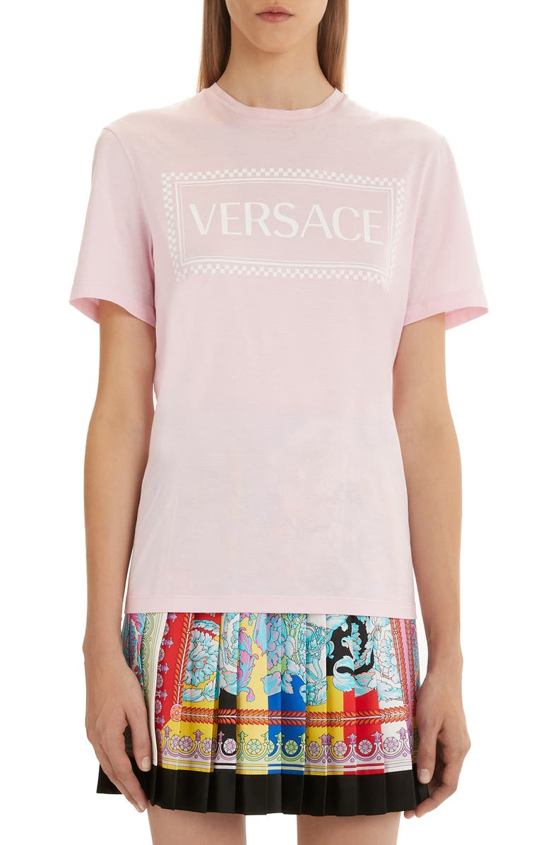 VERSACE FIRST LINE Versace '90s Logo Tee, Main, color, PINK