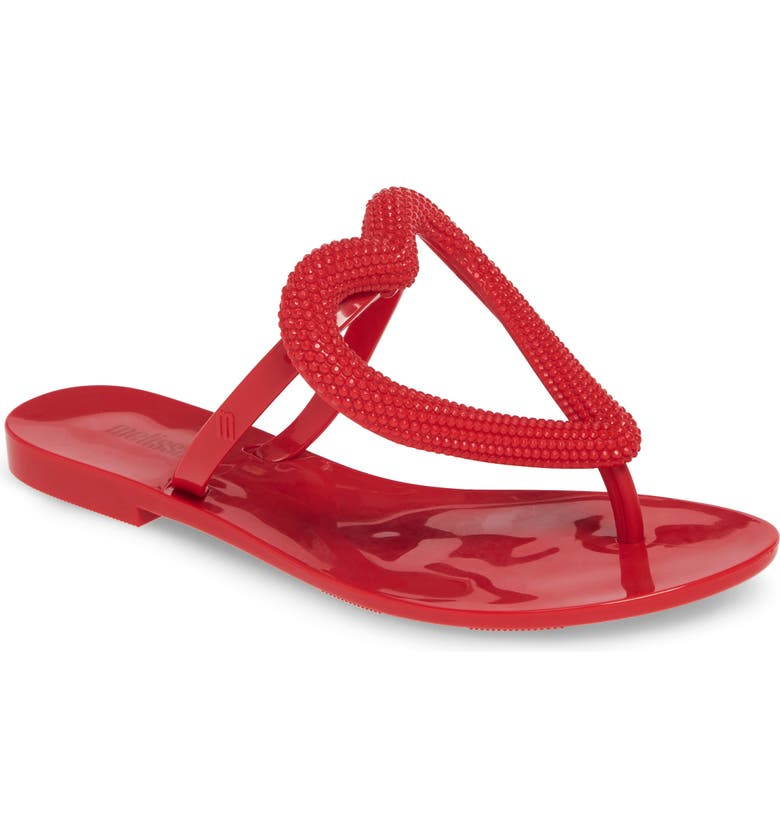 MELISSA Big Heart Flip Flop, Main, color, RED RUBBER