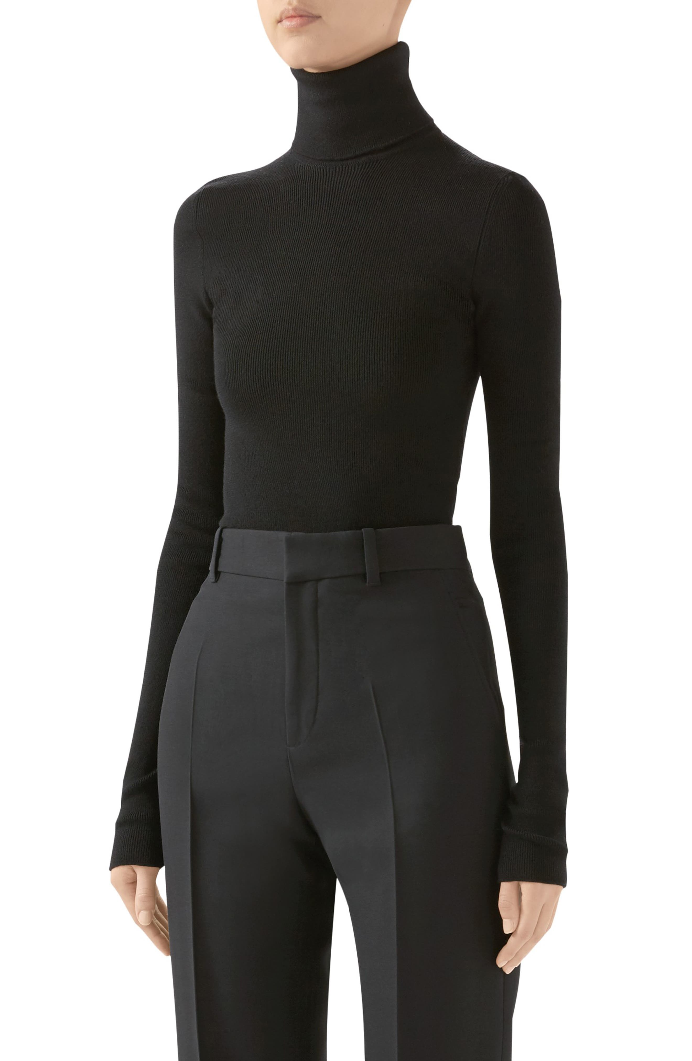 Gucci Tops Ribbed Wool Turtleneck Sweater