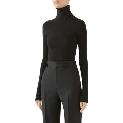 Gucci Ribbed Wool Blend Turtleneck Sweater, Black
