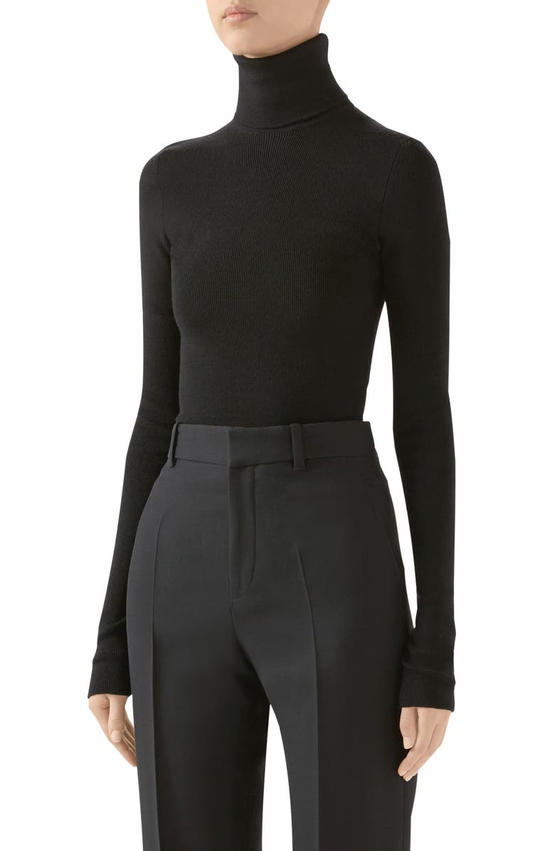 GUCCI Ribbed Wool Turtleneck Sweater, Main, color, BLACK