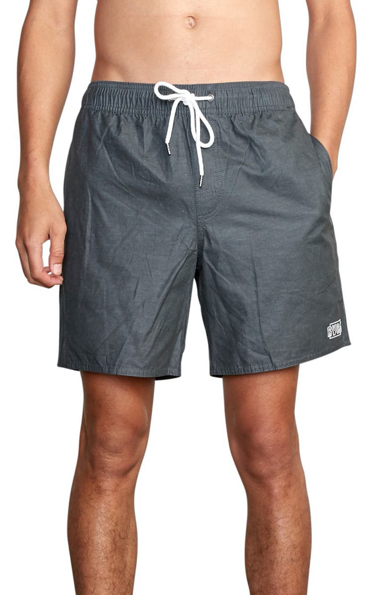 RVCA Opposites Solid Swim Trunks, Main, color, BLACK