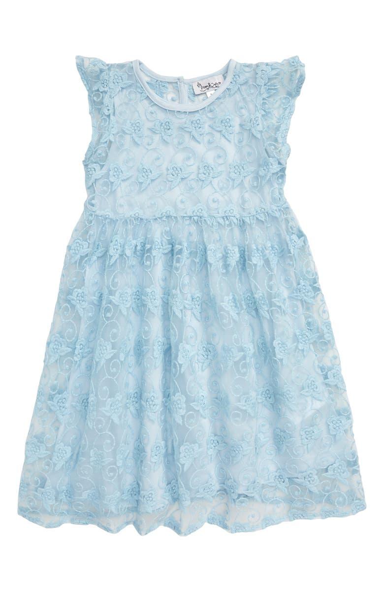 PIPPA & JULIE Embroidered Fit & Flare Dress, Main, color, LIGHT BLUE
