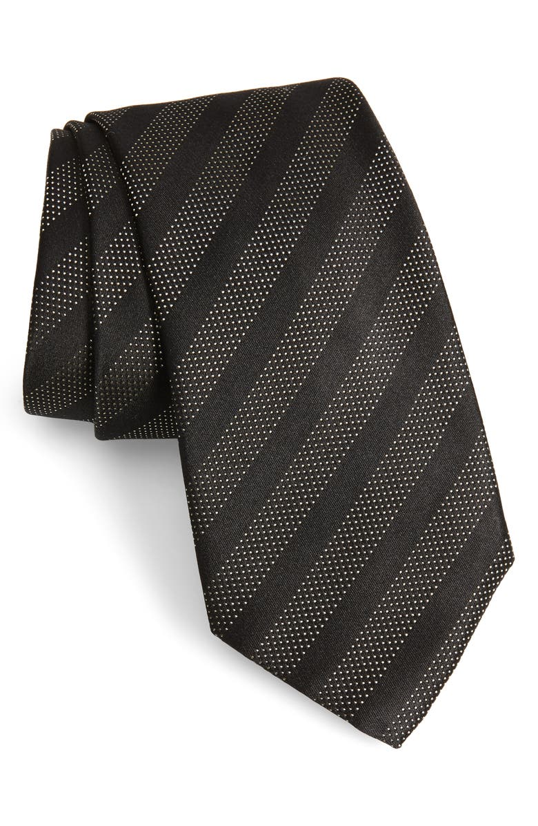 EMPORIO ARMANI Stripe Silk Tie, Main, color, BLACK