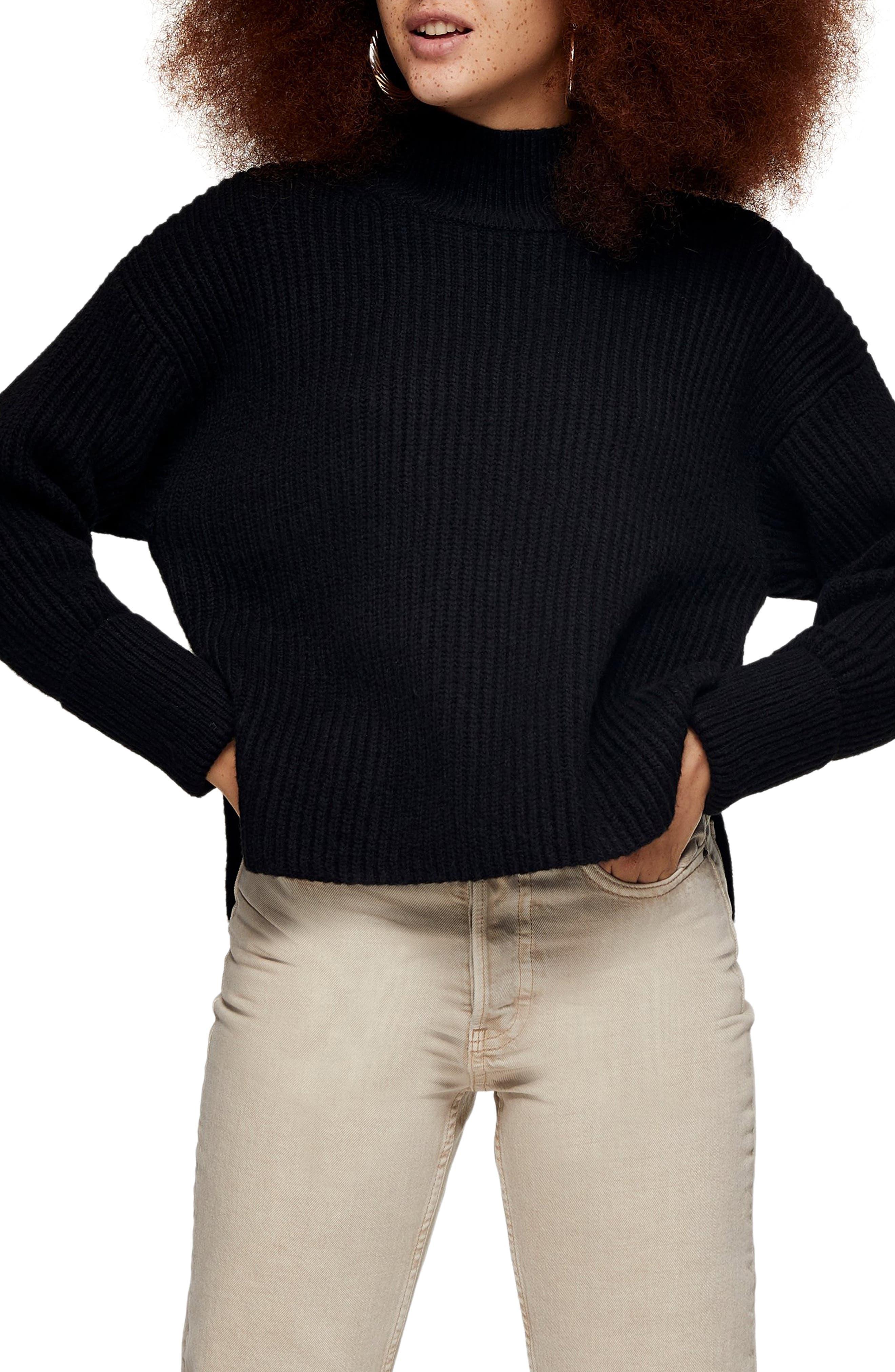 Topshop Mock Neck Crop Sweater | Nordstrom
