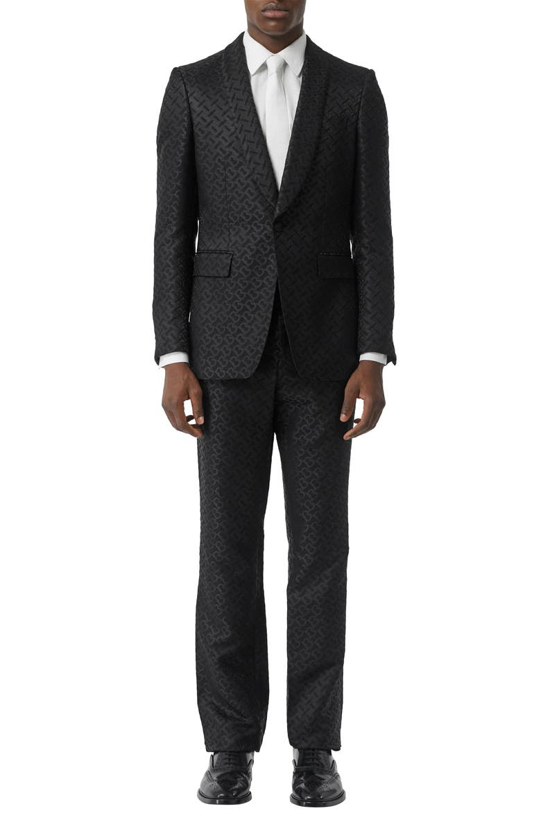 BURBERRY Monogram Jacquard Shawl Collar Wool & Silk Blend Suit Jacket, Main, color, BLACK