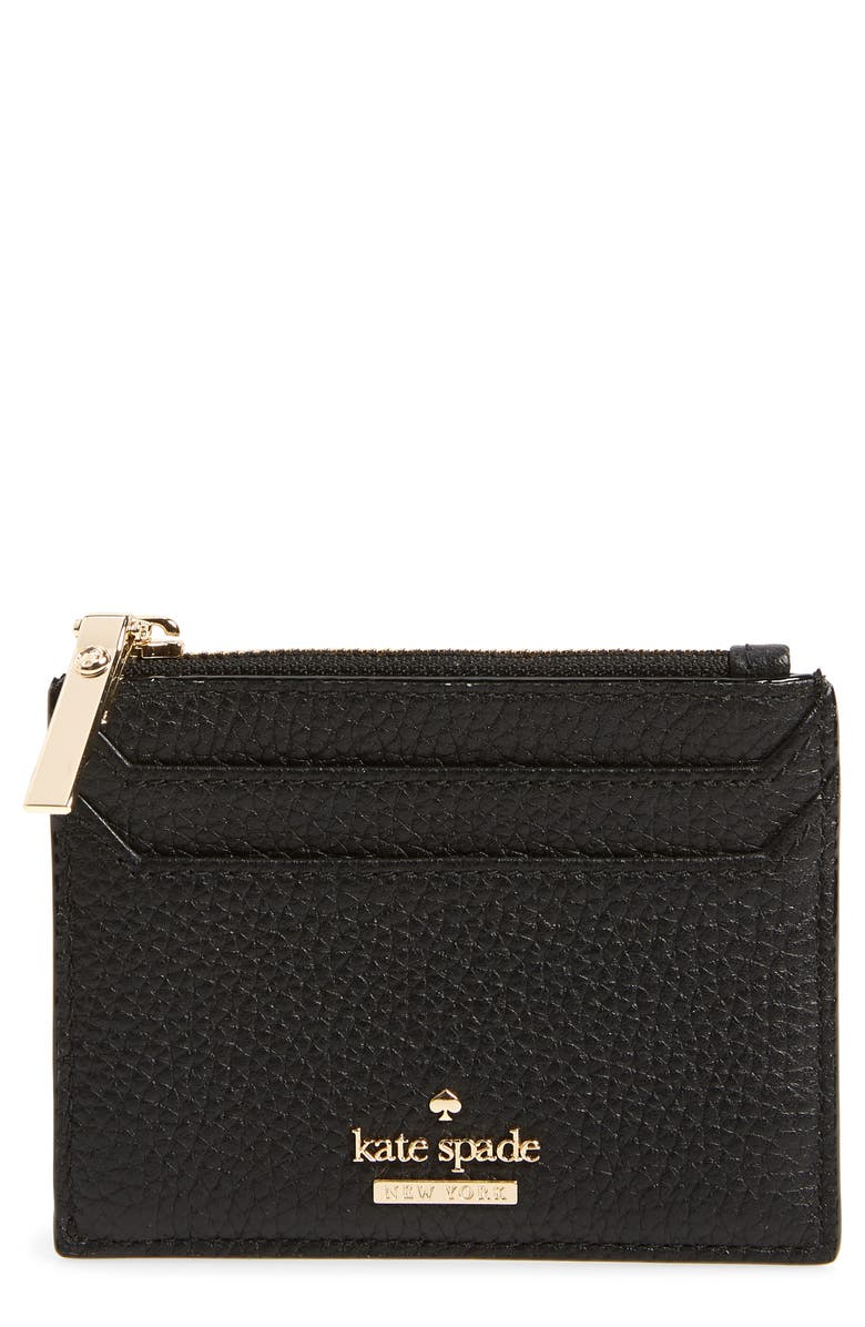 KATE SPADE NEW YORK oakwood street – lalena leather card case, Main, color, 001