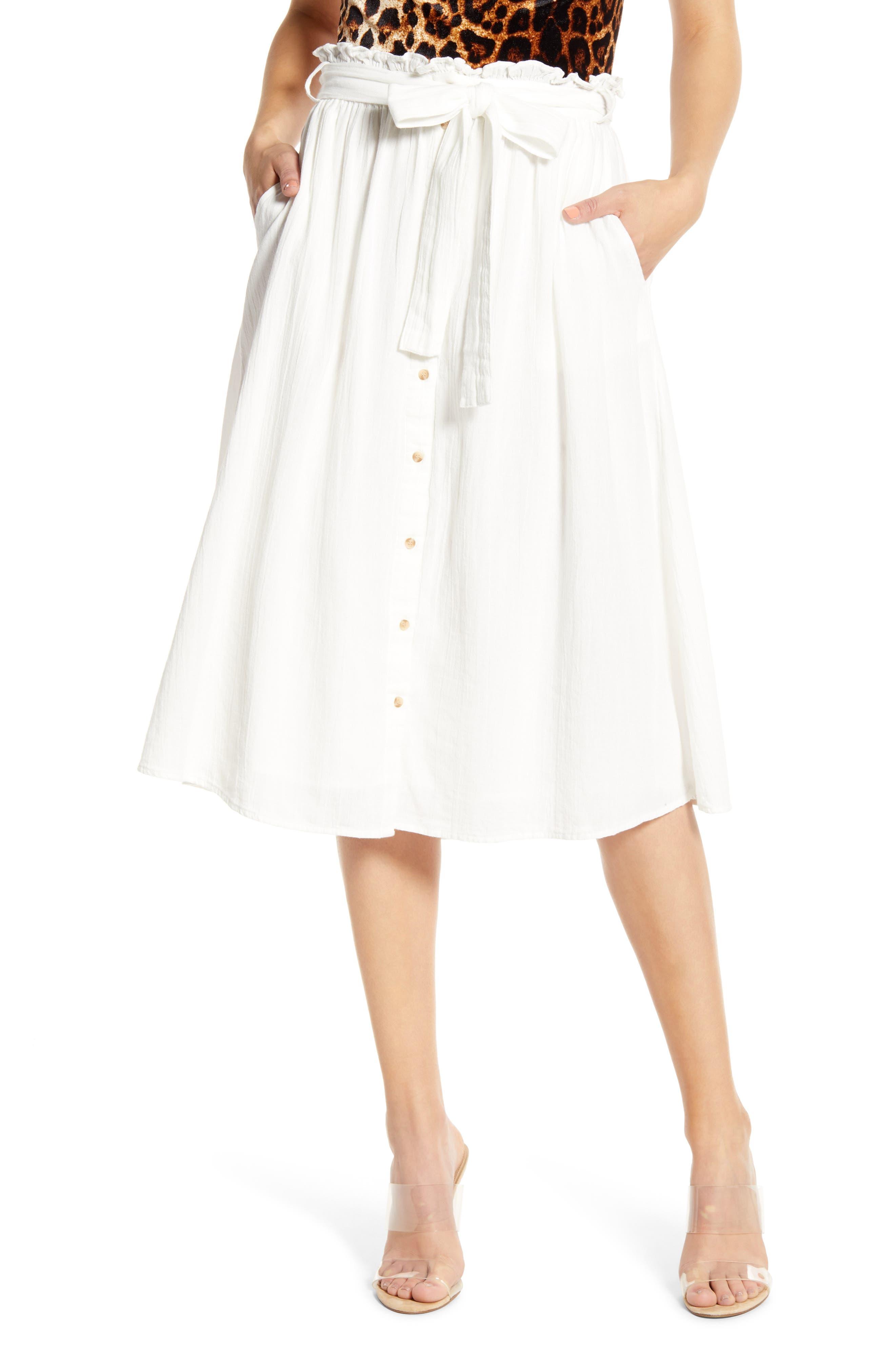 Vero Moda Sammi Tie Waist Cotton Midi Skirt, White