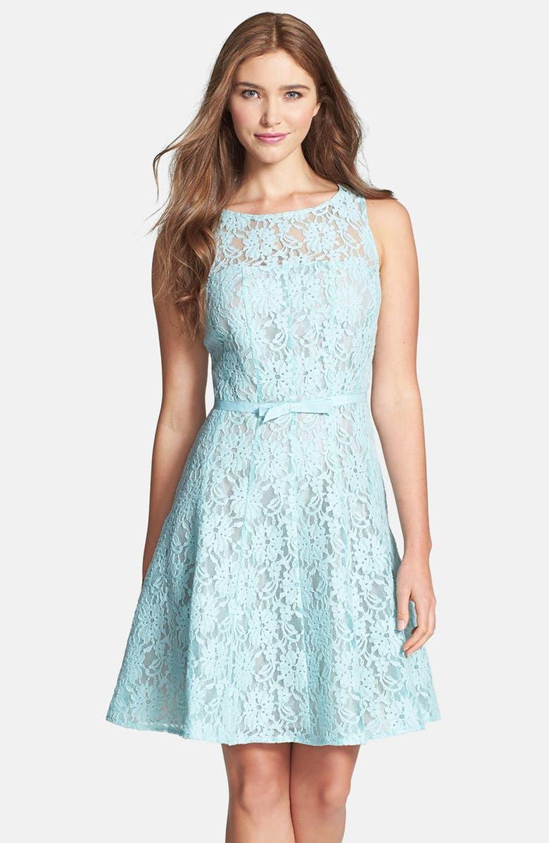 TAYLOR DRESSES Lace Fit & Flare Dress, Main, color, 400