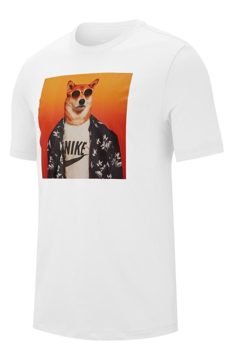 NIKE Sportswear Graphic Dog T-Shirt, Main, color, WHITE