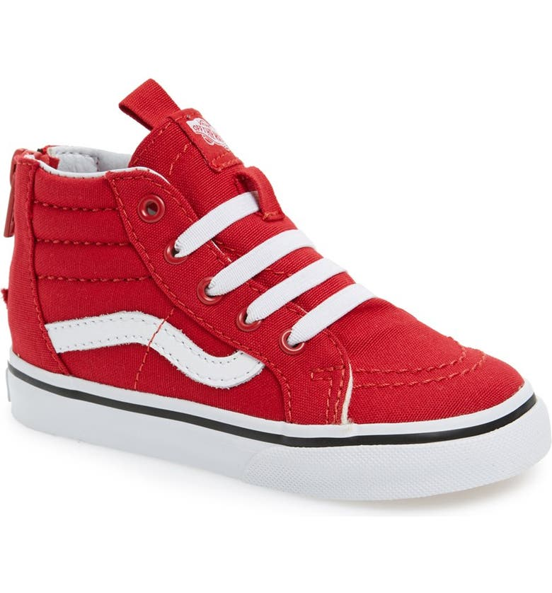 VANS 'Sk8-Hi' Zip Sneaker, Main, color, RACING RED/TRUE WHITE