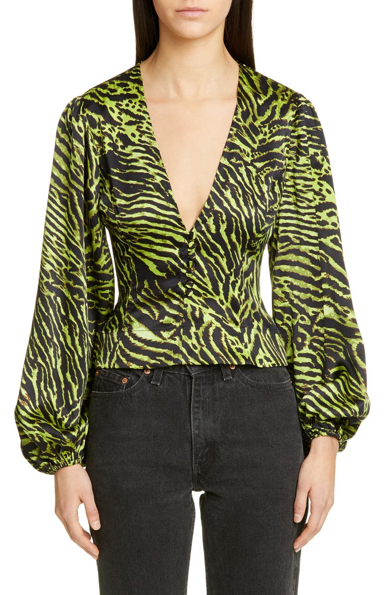 GANNI Tiger Print Silk Satin Blouse, Main, color, LIME TIGER