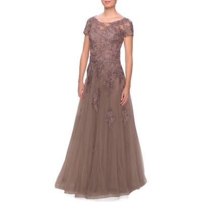 La Femme Lace Tulle Gown, Brown