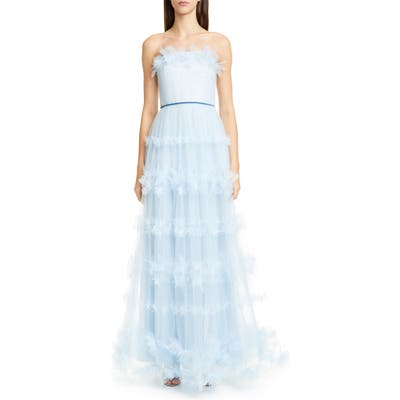 Marchesa Notte Strapless Tulle Gown, Blue