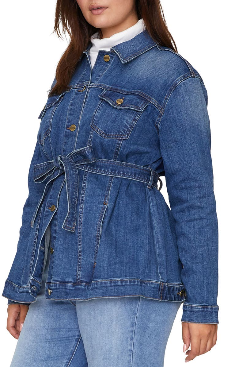 SANCTUARY Jessa Tied Denim Trucker Jacket, Main, color, KESTREL