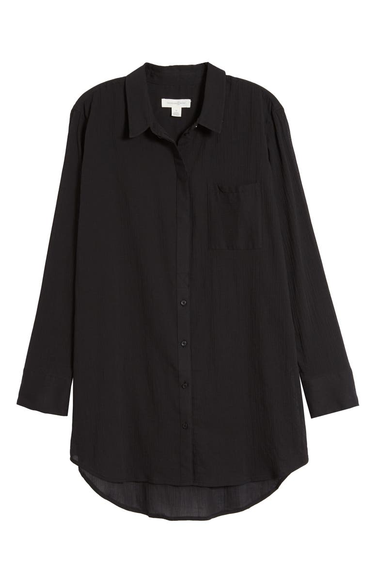 TREASURE & BOND Gauzy Tunic Shirt, Main, color, BLACK