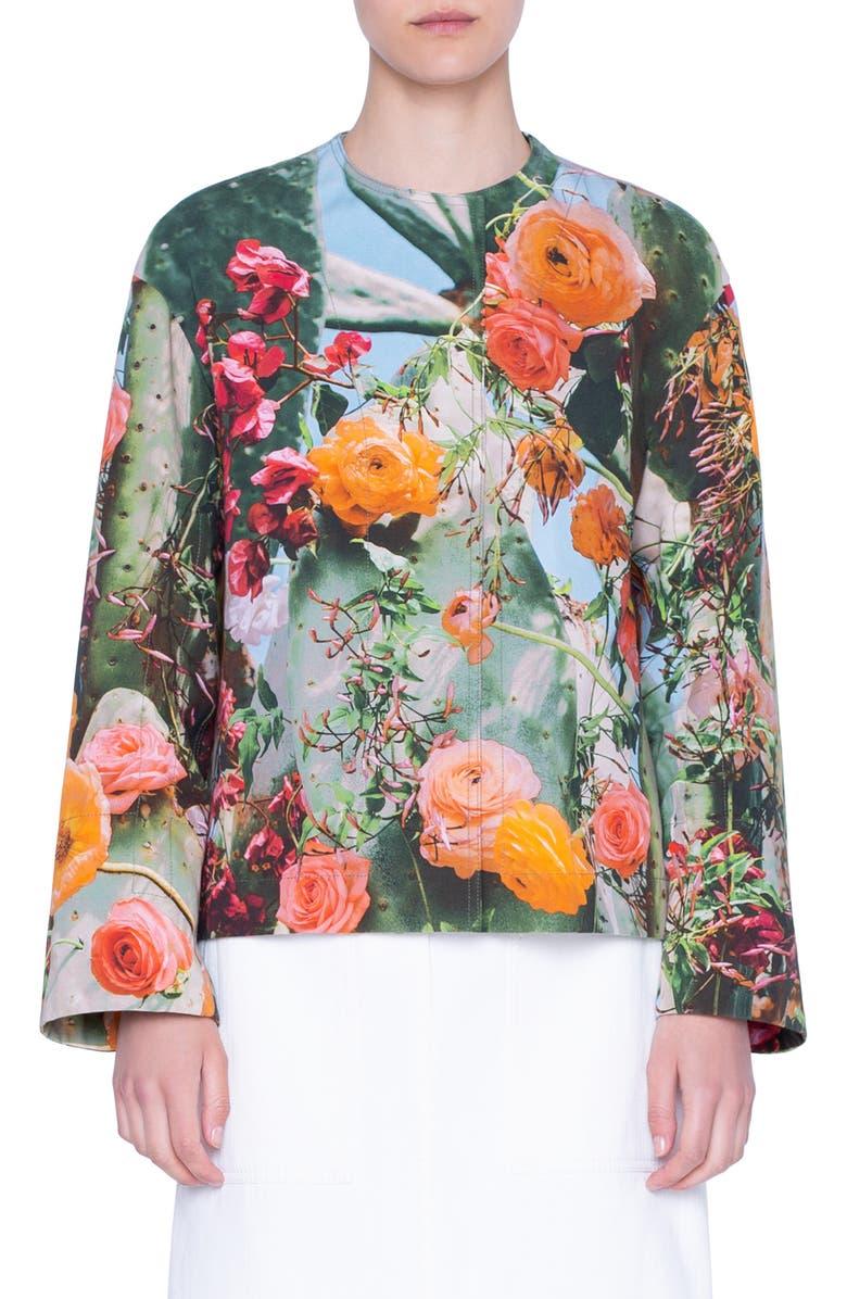 AKRIS PUNTO Cactus Blossom Print Jacket, Main, color, 300