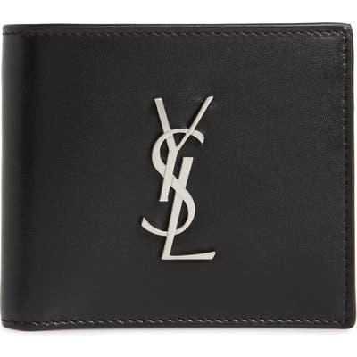 Saint Laurent Cassandra Leather Bifold Wallet - Black