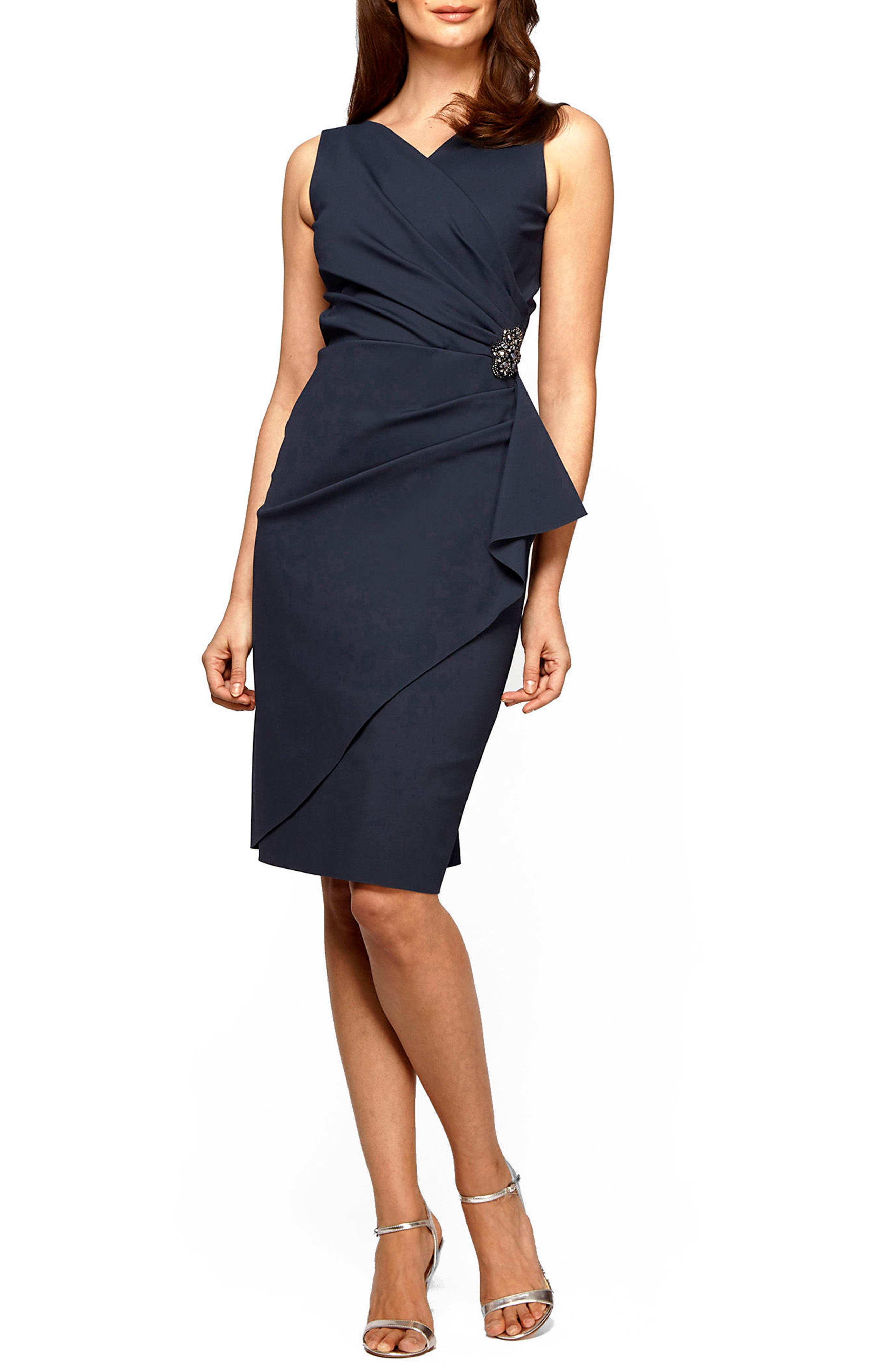 Graceful ruching gathers at a sparkling ornament to create the faux-wrap silhouette of a chic and simplified stretch-jersey dress. Style Name: Alex Evenings Side Ruched Cocktail Dress (Regular & Petite). Style Number: 1123772 21. Available in stores.