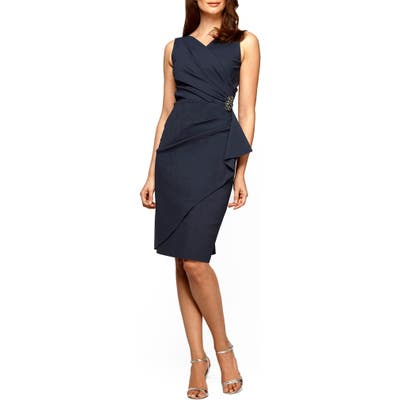 Petite Alex Evenings Side Ruched Dress, Grey