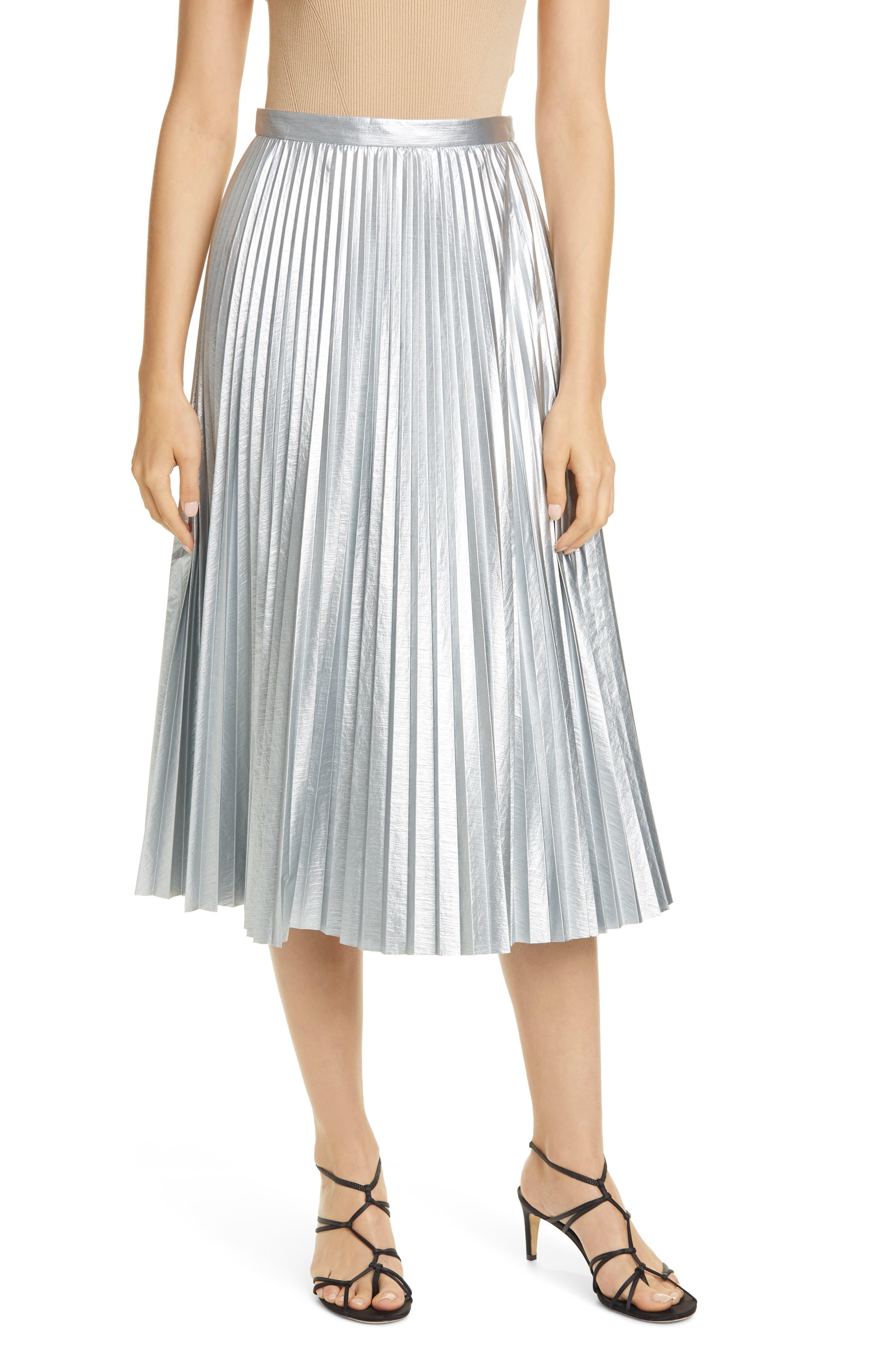 Image of Tibi Metallic Pleated Skirt