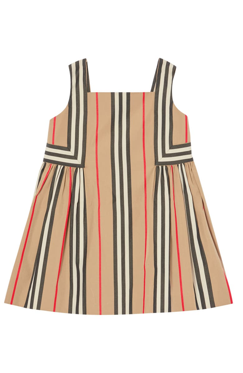 BURBERRY Astrid Icon Stripe Poplin Dress, Main, color, ARCHIVE BEIGE