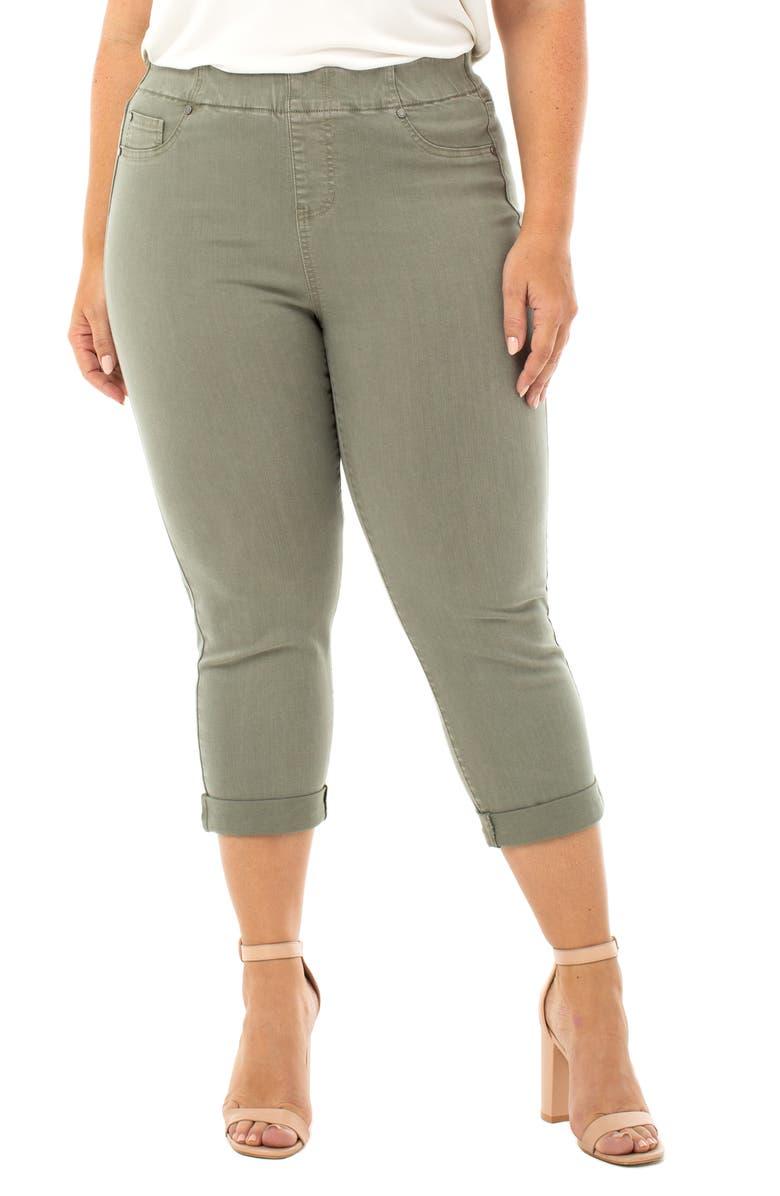 LIVERPOOL Chloe Pull-On High Waist Roll Cuff Crop Skinny Jeans, Main, color, SAGUARO PALM