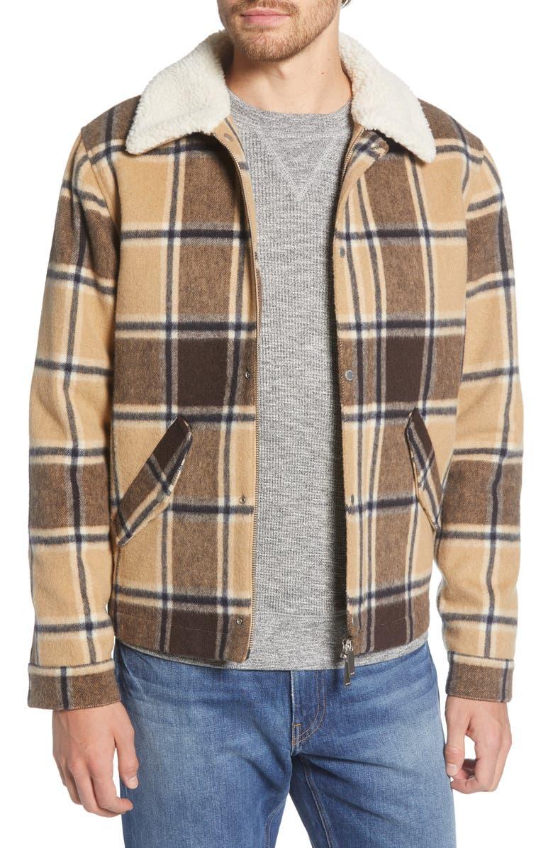 NN07 Louis 8174 Plaid Wool Blend Flannel Jacket, Main, color, CAMEL CHECK