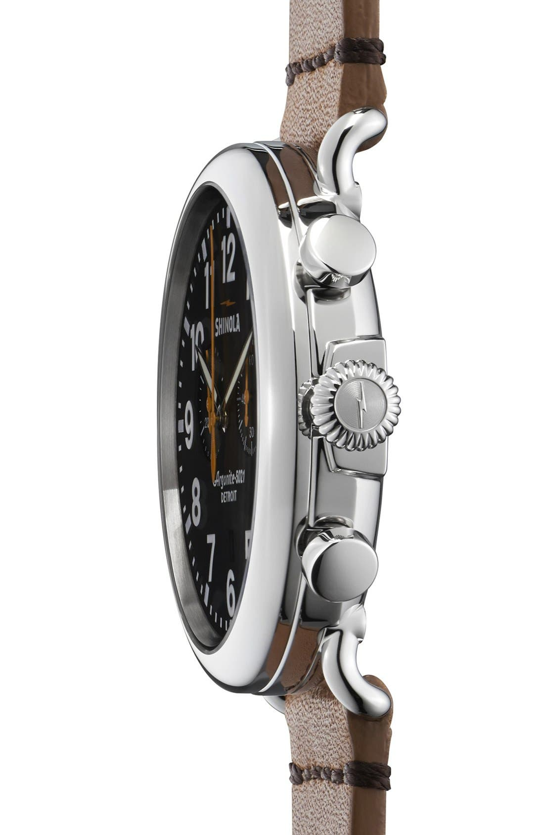 ,                             The Runwell Chrono Leather Strap Watch, 47mm,                             Alternate thumbnail 4, color,                             BROWN/ BLACK