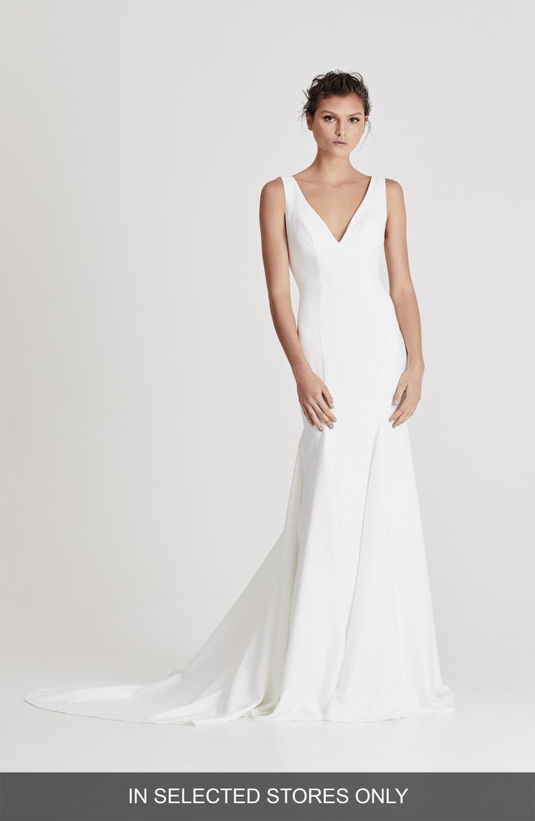 CHOSEN BY ONE DAY Campbell Trumpet Wedding Dress, Main, color, IVORY