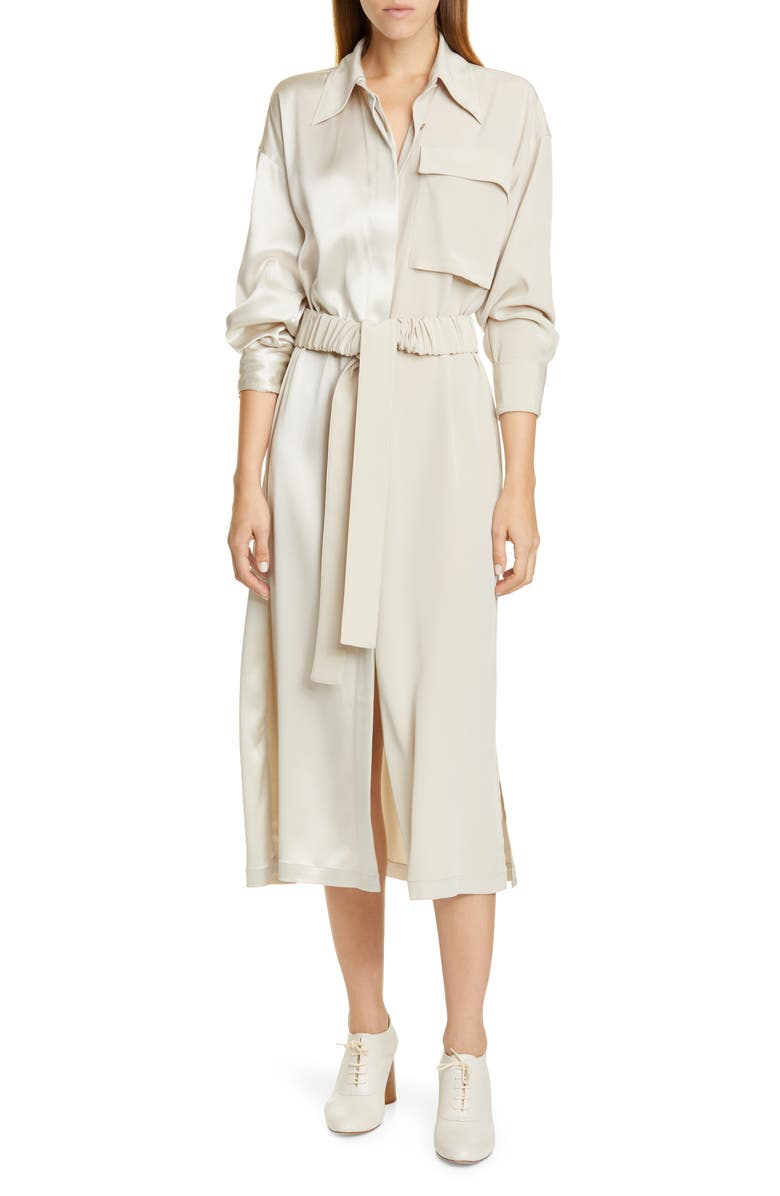 CO Split Front Long Sleeve Shirtdress, Main, color, CHAMPAGNE