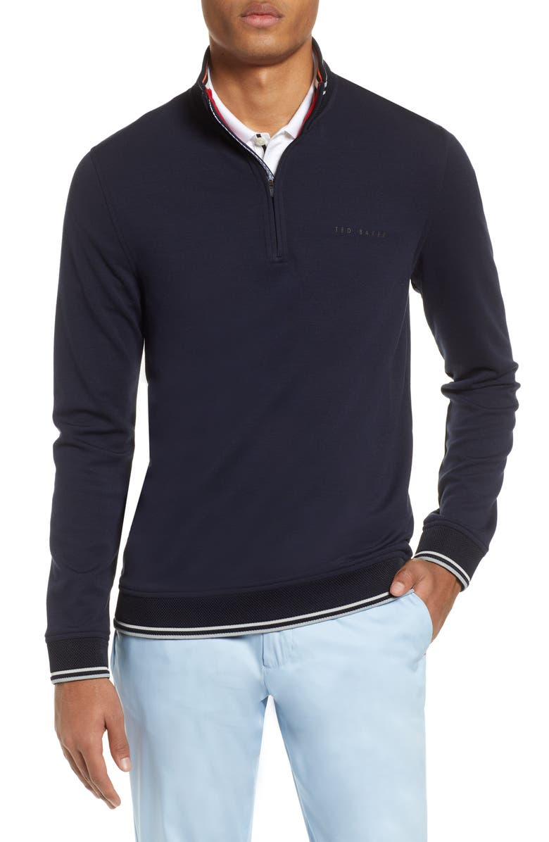TED BAKER LONDON Peanot Slim Fit Zip Golf Sweater, Main, color, NAVY